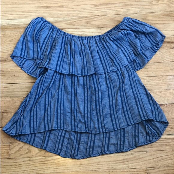 Honey Punch Tops - Chambray off the shoulder Striped Ruffle Top